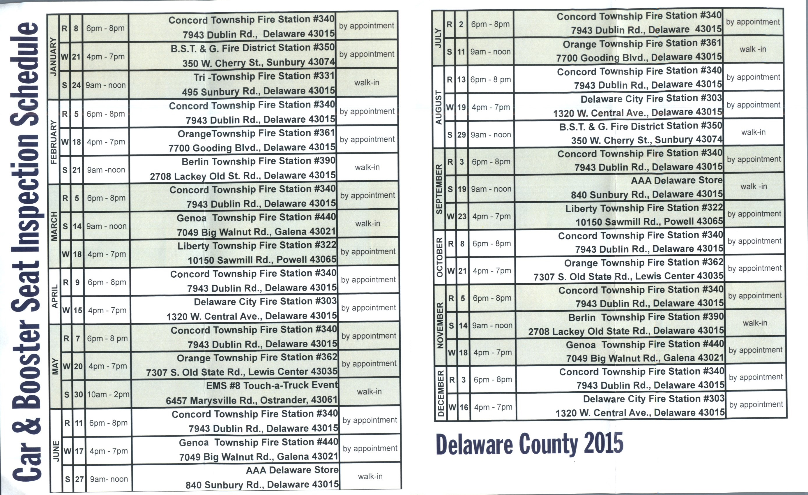 Delaware County Car & Booster Seat Inspections 2015